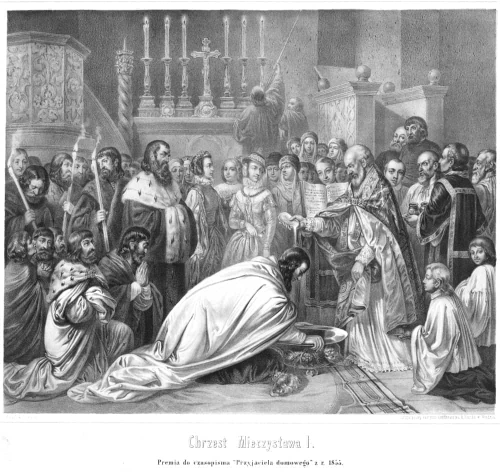 Chrzest Mieszka I. Ryt. według rysunku Franciszka Smuglewicza (przed 1855). Źródło: Polona