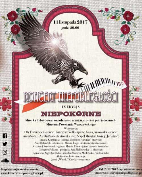 "Plakat IX Koncert Niepodległości ""Niepokorne"" (2017)"