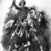Lisowczyk prowadzący pojmanego Szweda. Mal. Juliusz Kossak. Źródło: Polona