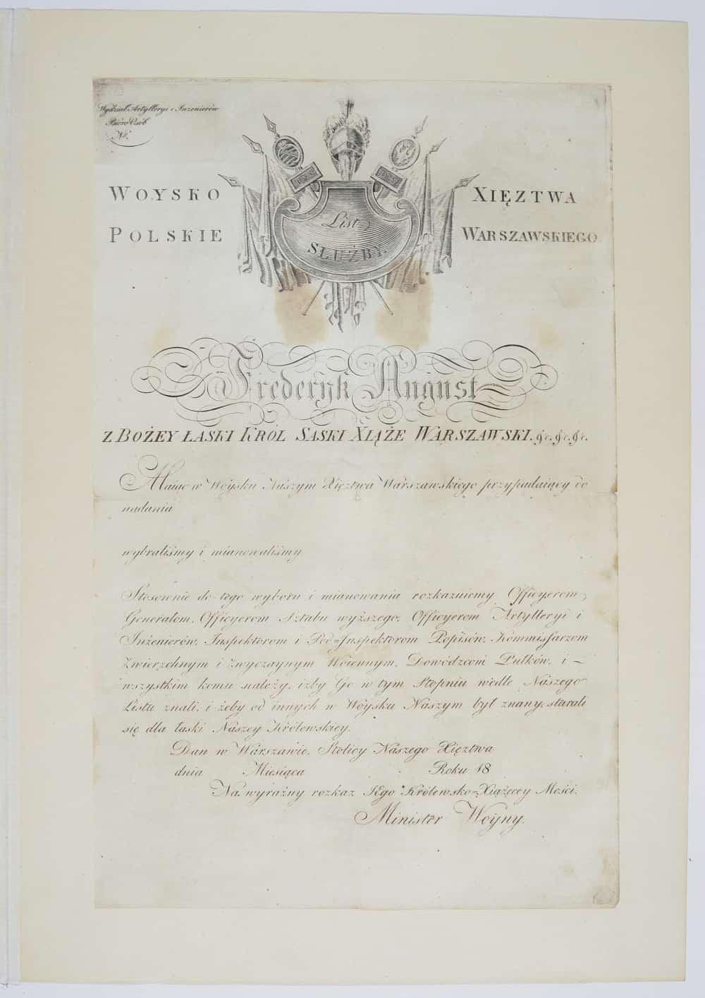 Wojsko Polskie Księstwa Warszawskiego - list służby (1807-15). Źródło: Polona