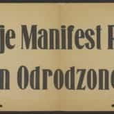 Afisz: Niech żyje Manifest P.K.W.N. Program Odrodzonej Polski. Źródło: Polona