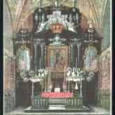 Jasna Góra – ołtarz z obrazem Matki Boskiej Częstochowskiej. Pocztówka z 1916 roku. Źródło: Polona