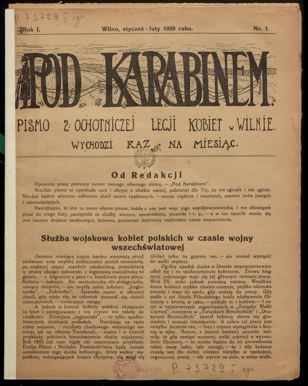 Pod karabinem: pismo 2 Ochotniczej Legii Kobiet w Wilnie (1920). Źródło: Polona