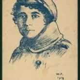 Portret legionistki z Ochotniczej Legii Kobiet (pocztówka 1919). Źródło: Polona