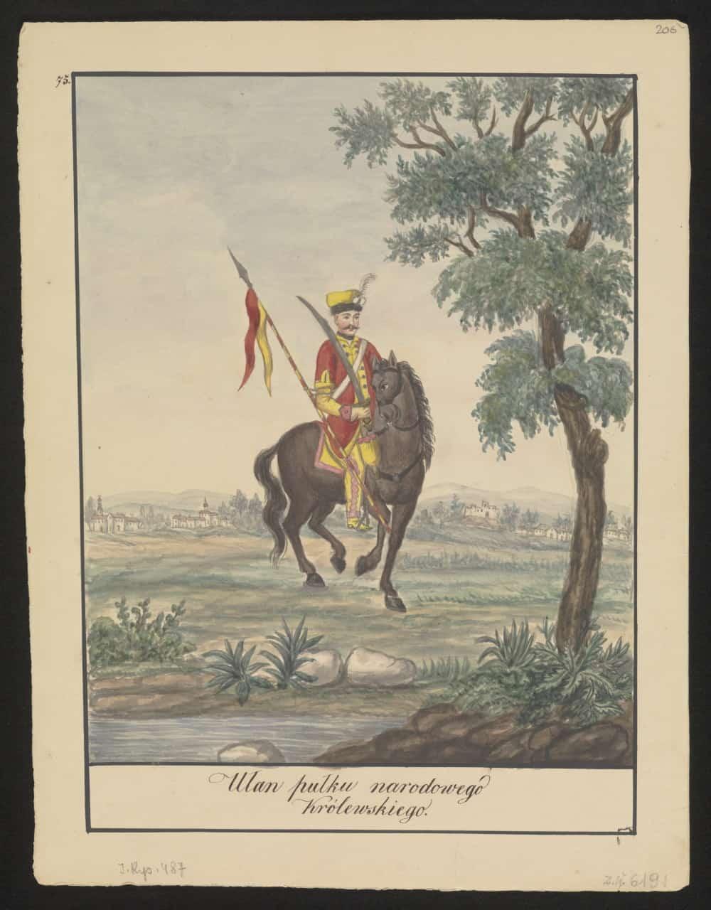 Ułan pułku narodowego Królewskiego. Mal. Konstanty Kopff (1847). Źródło: Polona