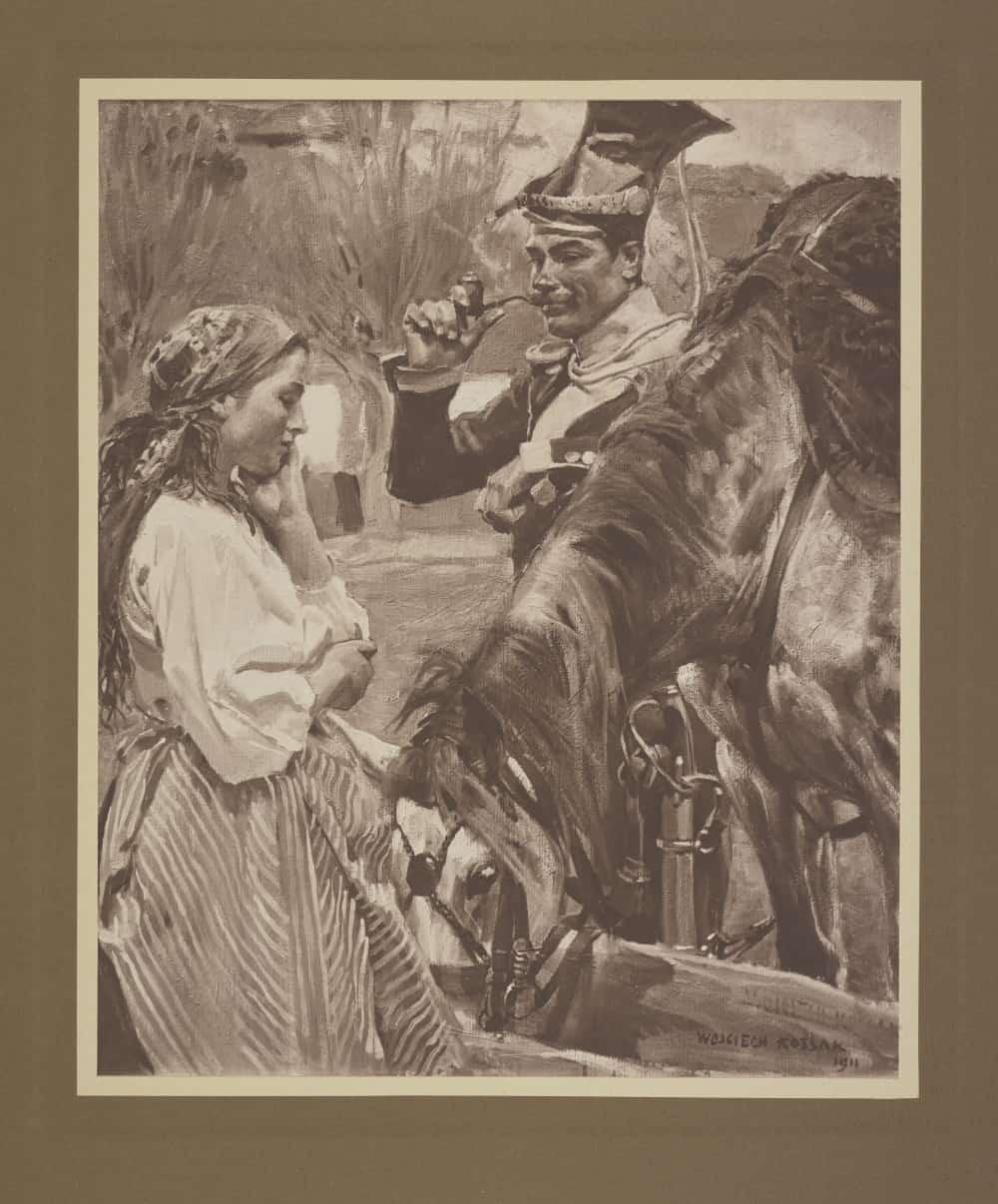 Ułan z fajką pojący konia, fotografia obrazu w. Kossaka z 1911 r. Mundur ułana z czasu Królestwa Kongresowego i Powstania Listopadowego. Źródło: Polona