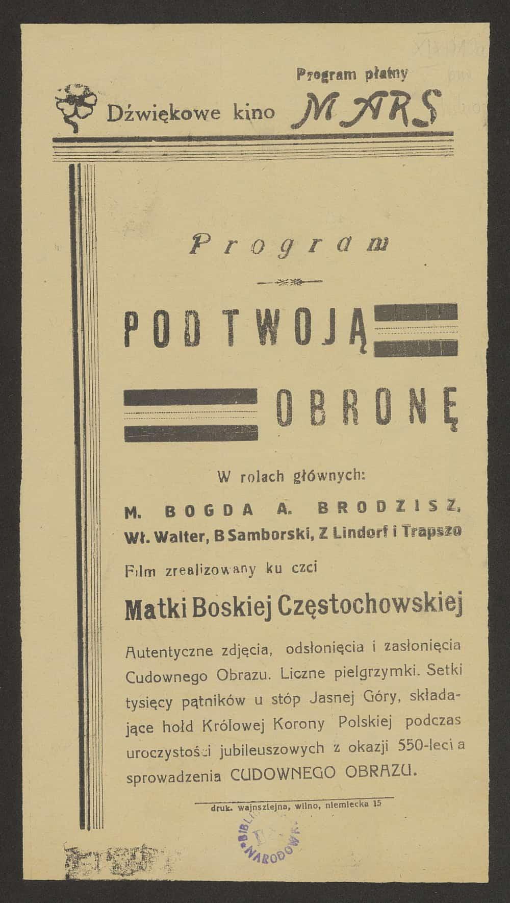Ulotka z 1939 r. Źródło: Polona