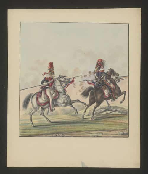 Jazda dwunastego i piętnastego pułku ułanów. Źródło: Polona
