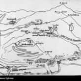 Pole bitwy o Monte Cassino na rysunku sytuacyjnym. Ze zbiorów NAC