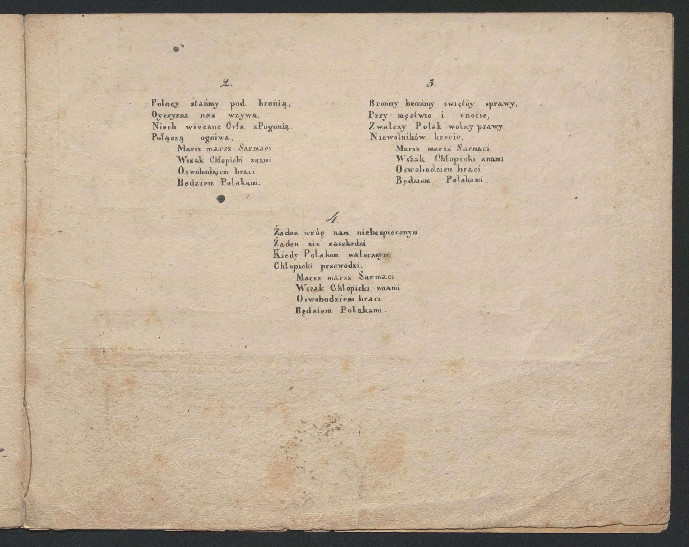 Pieśń narodowa na nutę (Jeszcze Polska nie zginęła) : ofiarowana J. W. J. Chłopickiemu Dyktatorowi. Druk muzyczny z ca 1831 roku. Źródło: Polona