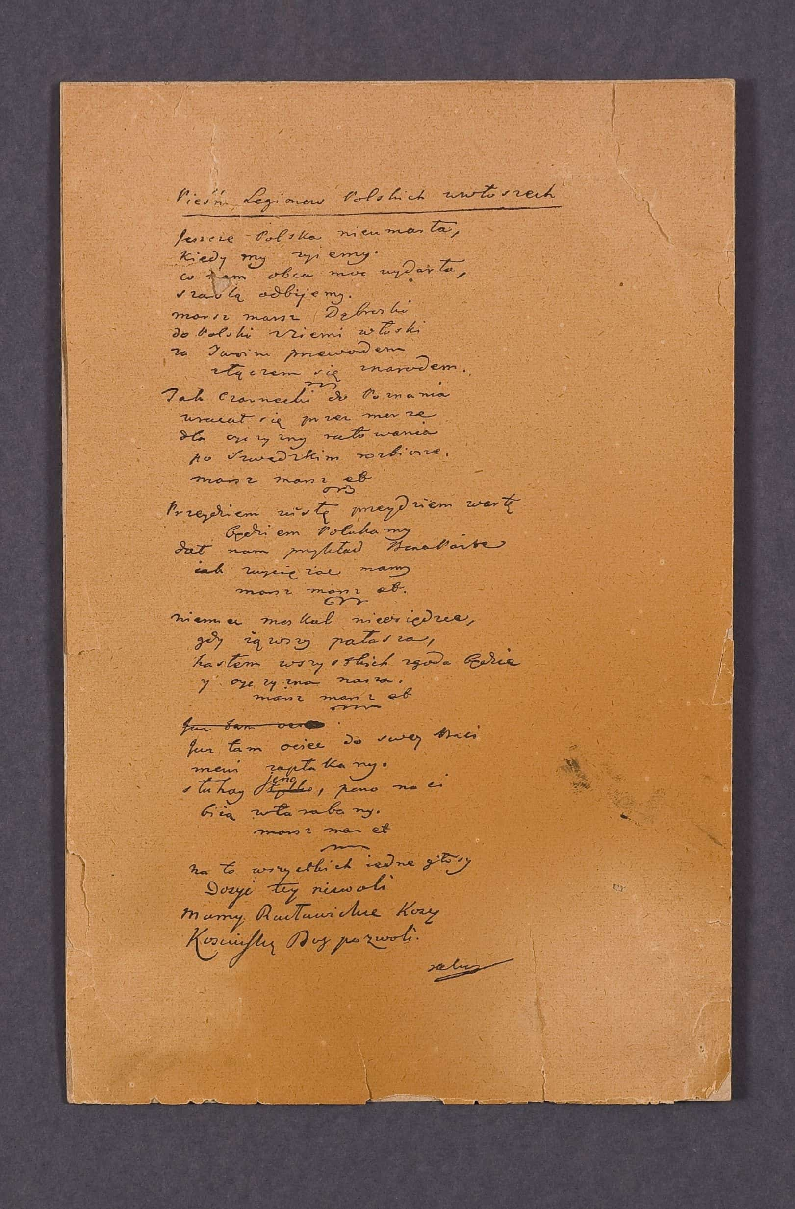 Faksymile autografu Pieśni Legionów Polskich we Włoszech. Źródło: Muzeum Hymnu Narodowego