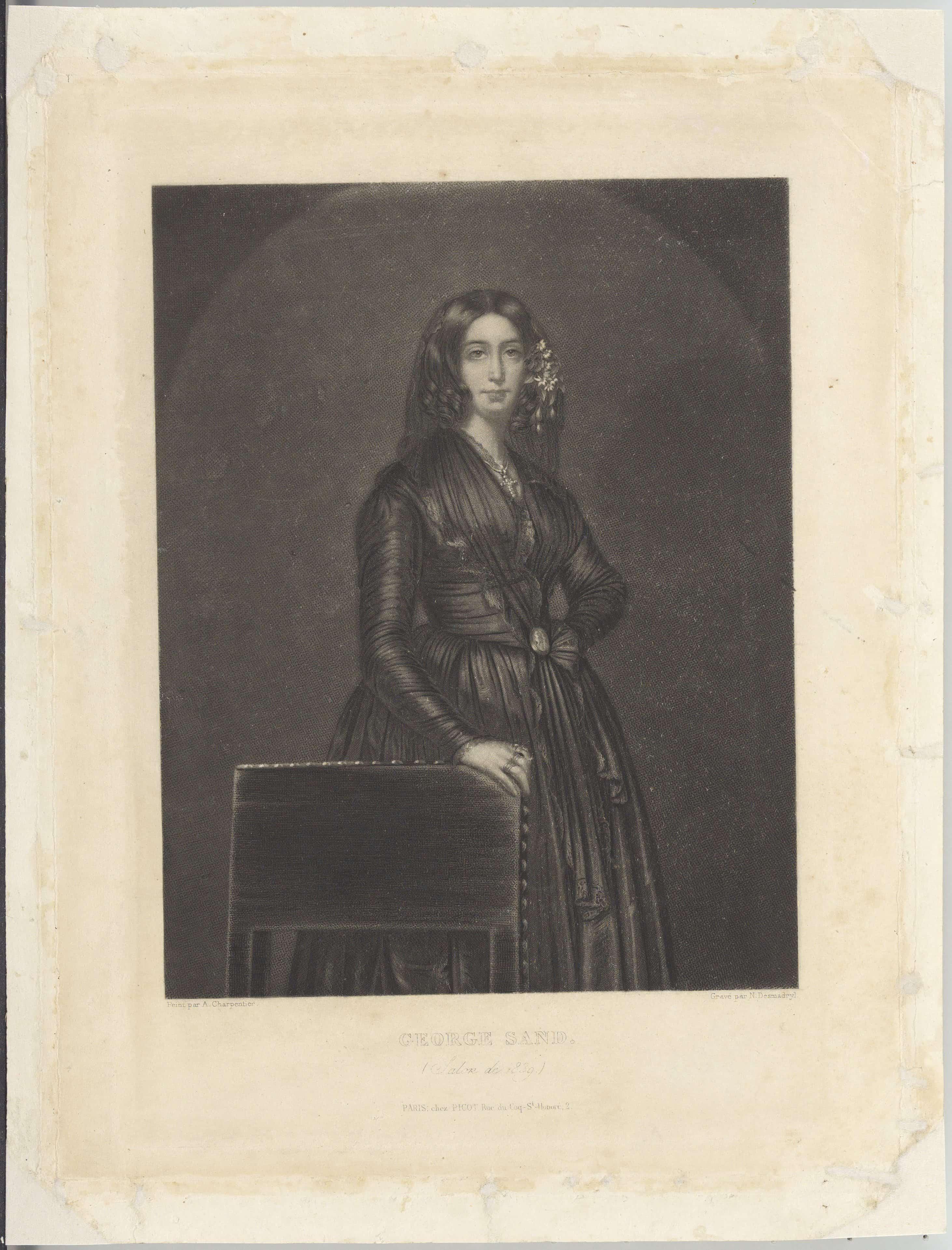 Portret George Sand. Ryt. N. Desmodryl (1839). Źródło: Polona