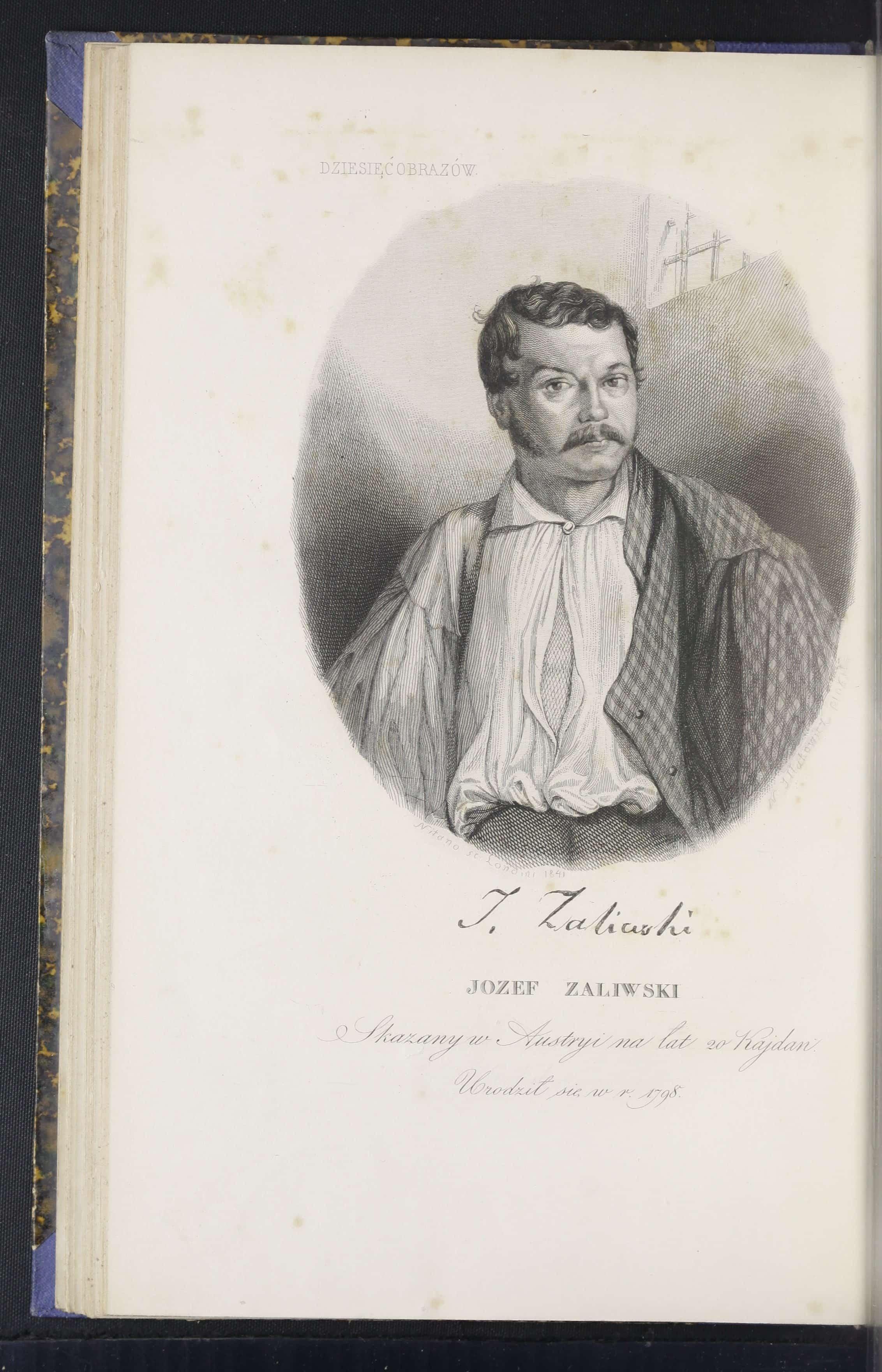 Józef Zaliwski. Grafika z poematu Dziesięć obrazów. Paryż 1841. Źródło: Polona