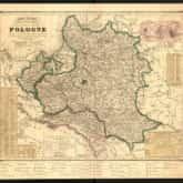 Historyczna mapa dawnej Rzeczypospolitej: wskazująca jej zasięg terytorialny przed I rozbiorem w 1772 r., z podziałami utworzonymi w 1815 r., zmianami jakie zaszły w 1844 roku. Autor: Leonard Chodźko (Paryż, 1846). Źródło: Polona