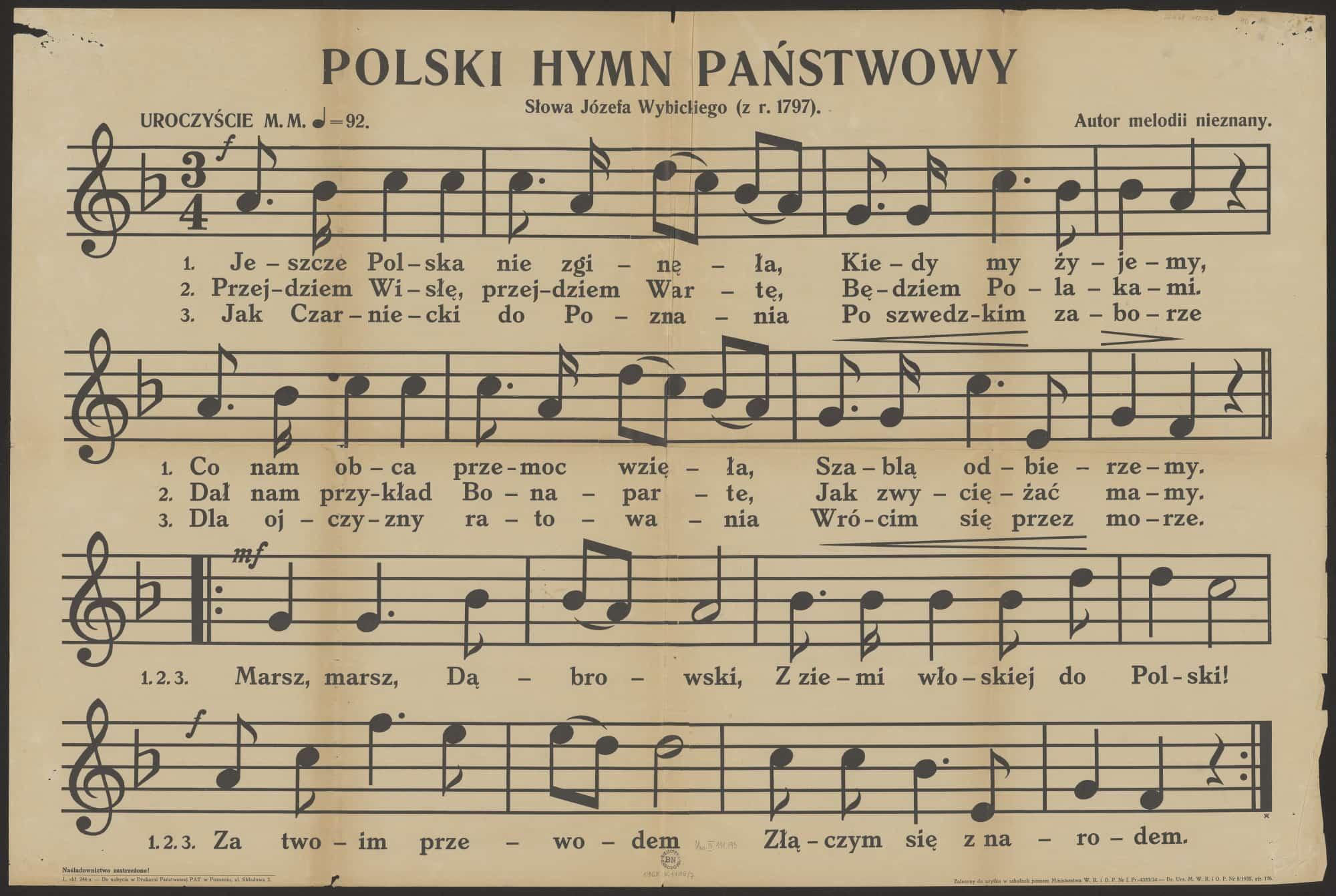 """Nuty hymnu państwowego w wariancie tytułu """"Jeszcze Polska nie zginęła"""" z 1934 roku. Źródło: Polona"""