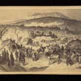 Obóz Langiewicza w Górach Świętokrzyskich (luty 1863). Rys. J. Worms. Źródło: Polona
