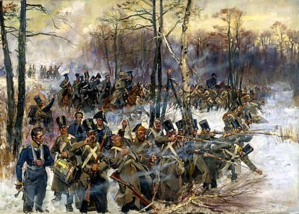 Bitwa pod Grochowem, stoczona 25. lutego 1831 roku, była największą bitwą powstania listopadowego. Malował: Wojciech Kossak (1928). Ze zbiorów: Muzeum Wojska Polskiego