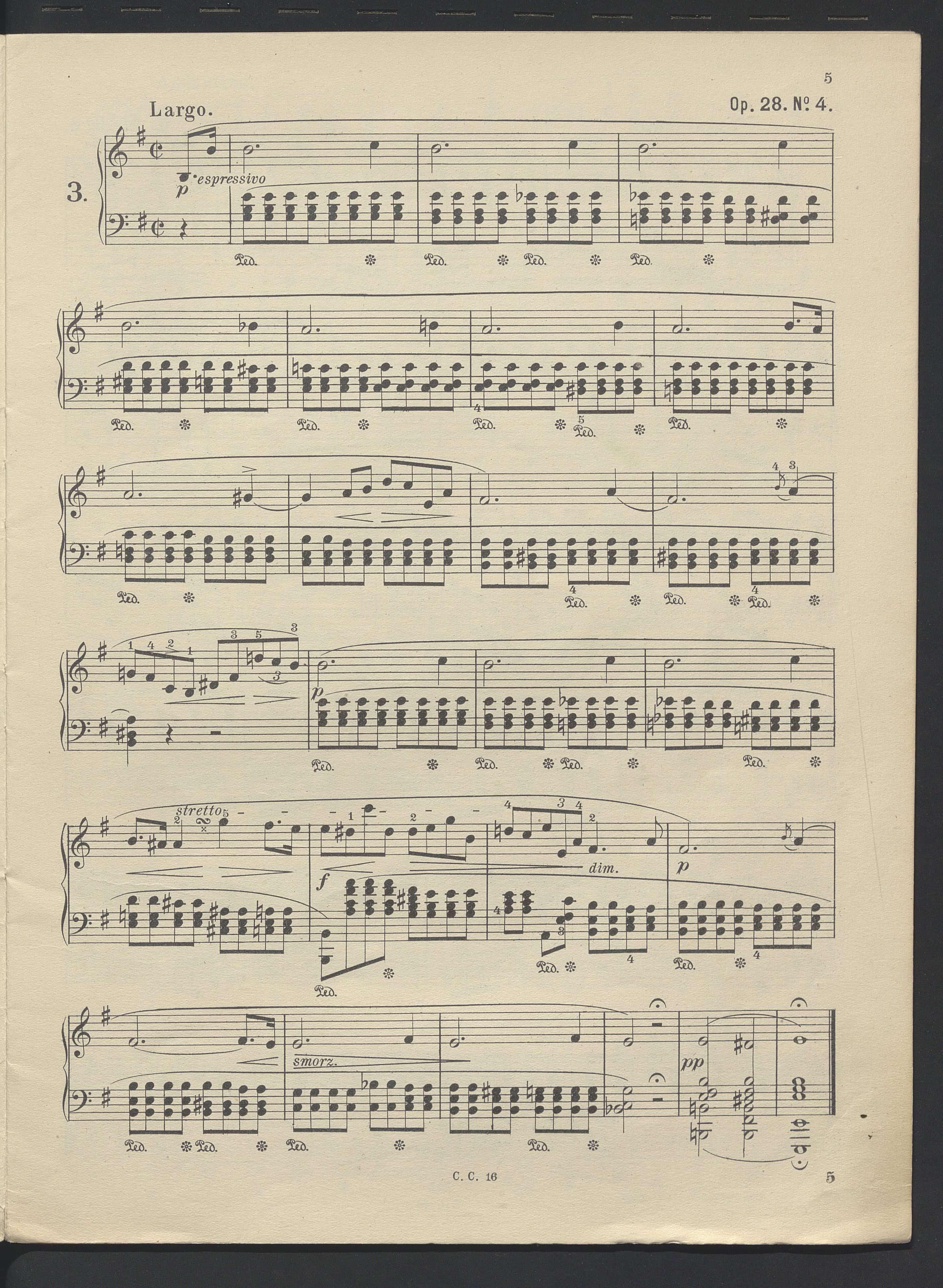 Preludium e-moll Op. 28 nr.4 s.5 w wydaniu z ok. 1900. Źródło: Polona