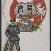 """""""Orzeł Biały w wawrzynie i chwale, która bije z piastowej korony, on to wiedzie wciąż wytrwale nasze, Legiony!"""". Pocztówka z lat 1914-18. Źródło: Polona"""