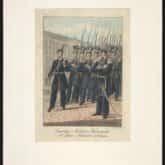 Powstanie Listopadowe - piechota Gwardii Narodowej Warszawskiej (1831). Ryt. Ch. Dietrich według F. Piwarskiego. Źródło: Polona.