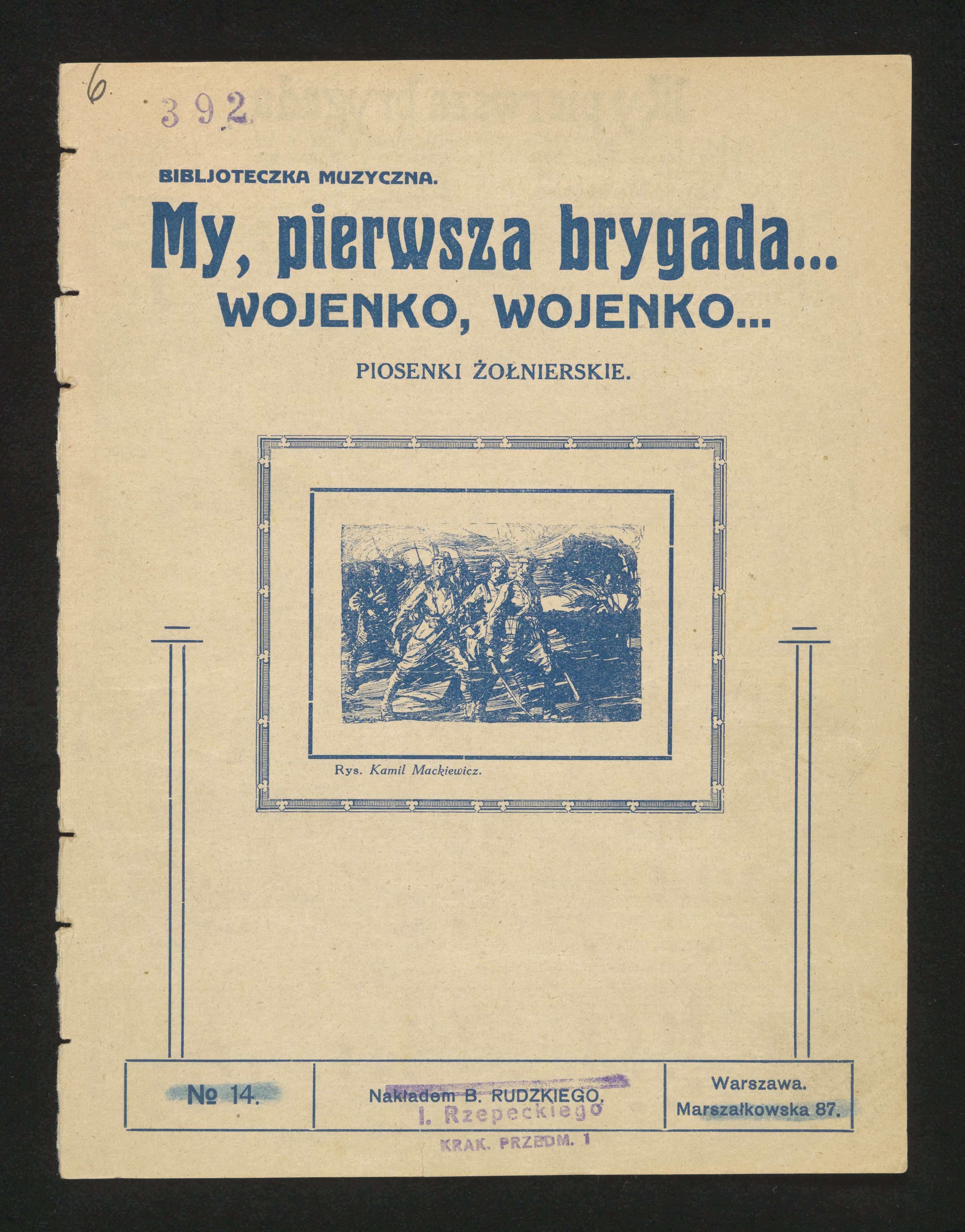 """Pierwsza strona wydania """"Pierwszej Brygady"""" z ok. 1928 r. Źródło: Polona"""