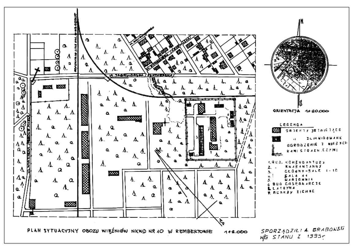 Plan obozu NKWD w Rembertowie. Rekonstrukcja A. Grabowskiego.
