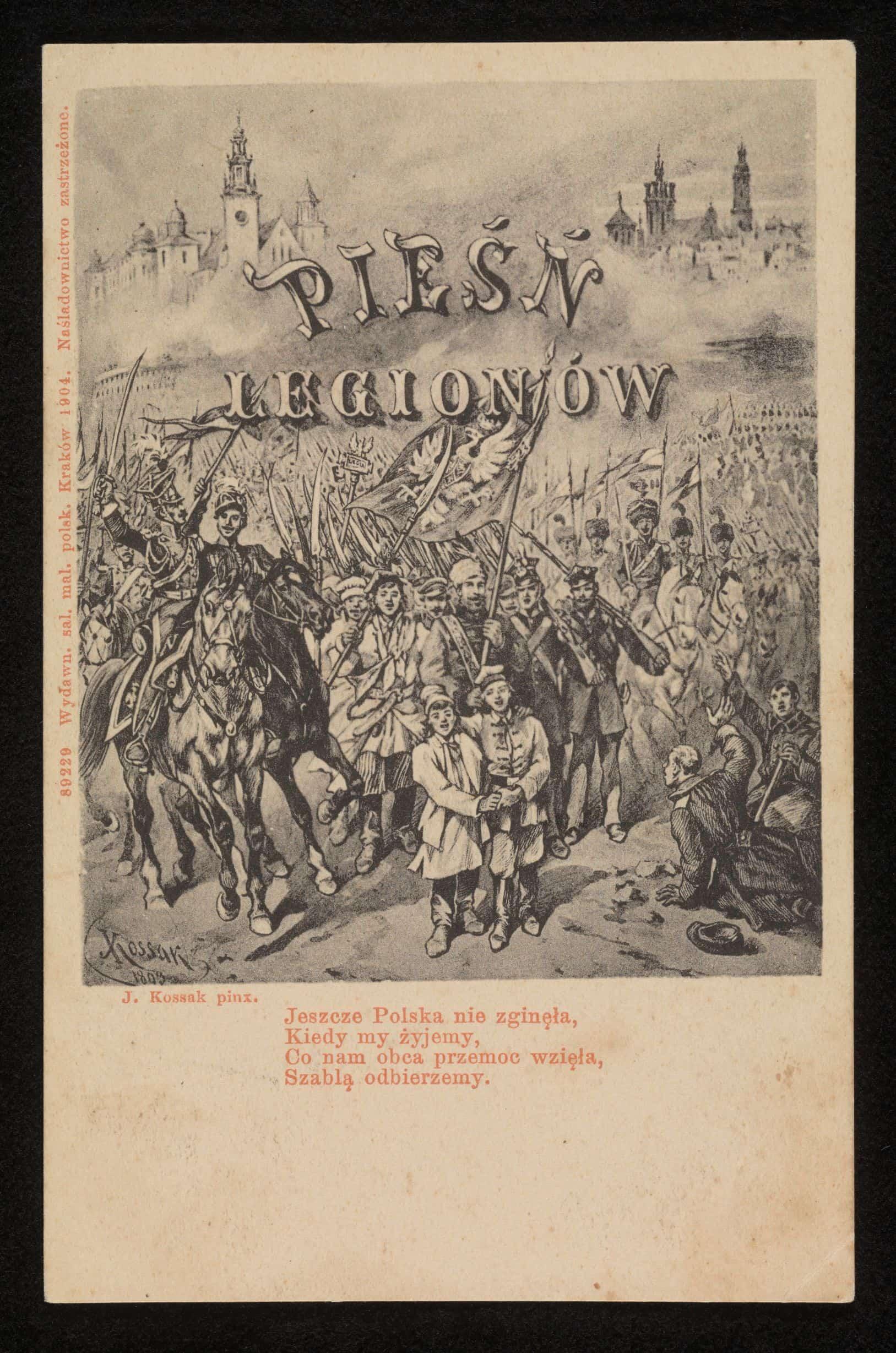 Pocztówka patriotyczna z cytatem z Mazurka Dąbrowskiego. Wydawca nieznany, XIX w. Źródło: Polona
