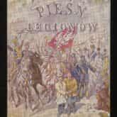 Pocztówka patriotyczna z cytatem z Mazurka Dąbrowskiego wg. Juliusza Kossaka. Źródło: Polona