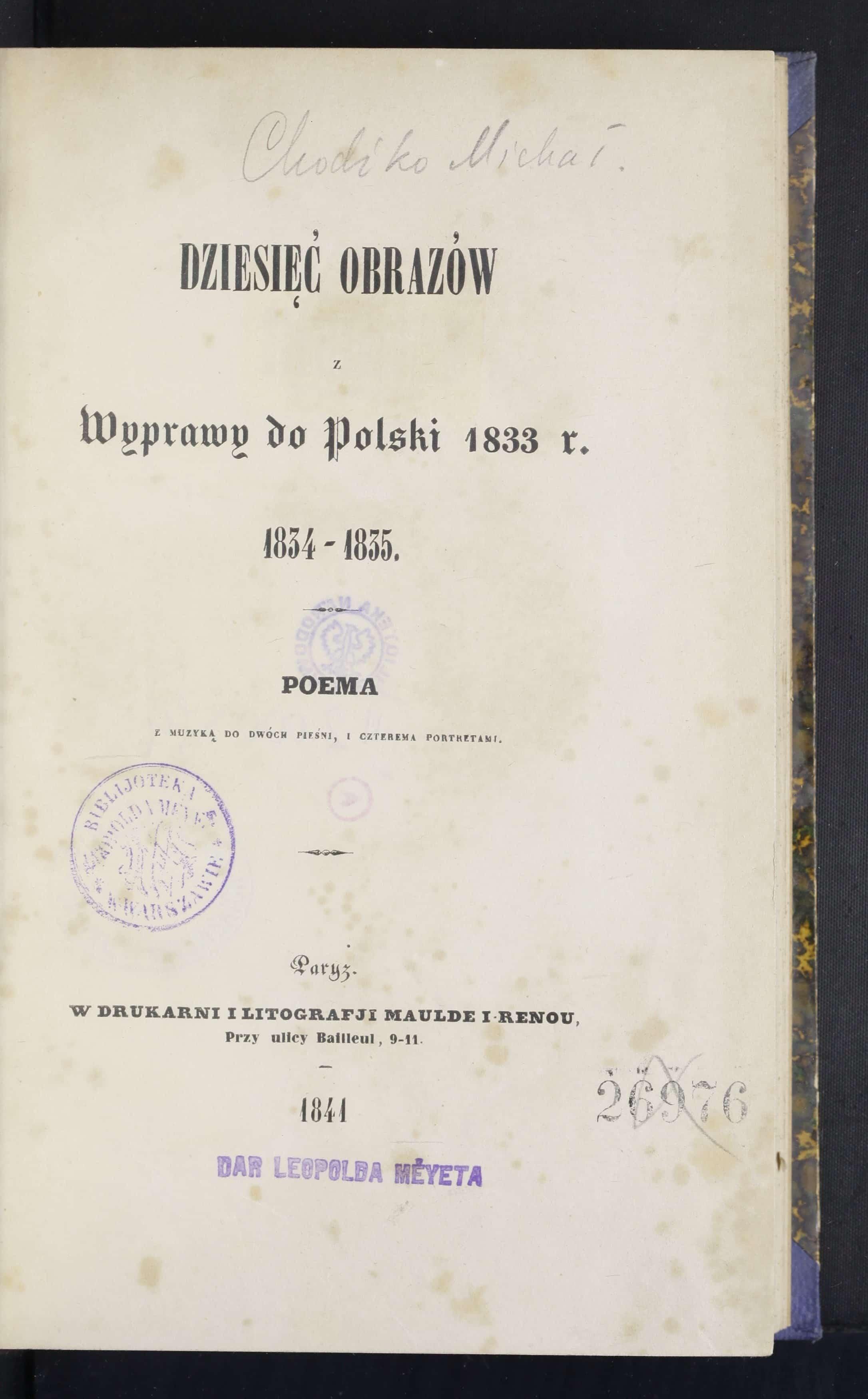 Poemat Dziesięć obrazów z wyprawy do Polski z 1833. Źródło: Polona