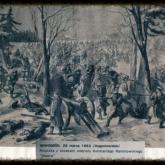 """Rysunek francuskiego korespondenta przedstawiający potyczkę """"Wawra"""" z Rosjanami 26 marca 1863 pod Nowogrodem. Źródło: Muzeum Wojska Polskiego"""