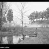 Reduta Piłsudskiego. Fragment stawu przy piaszczystych pagórkach i przy lesie. (Kostiuchnówka 1915-1916). Źródło: Narodowe Archiwum Cyfrowe