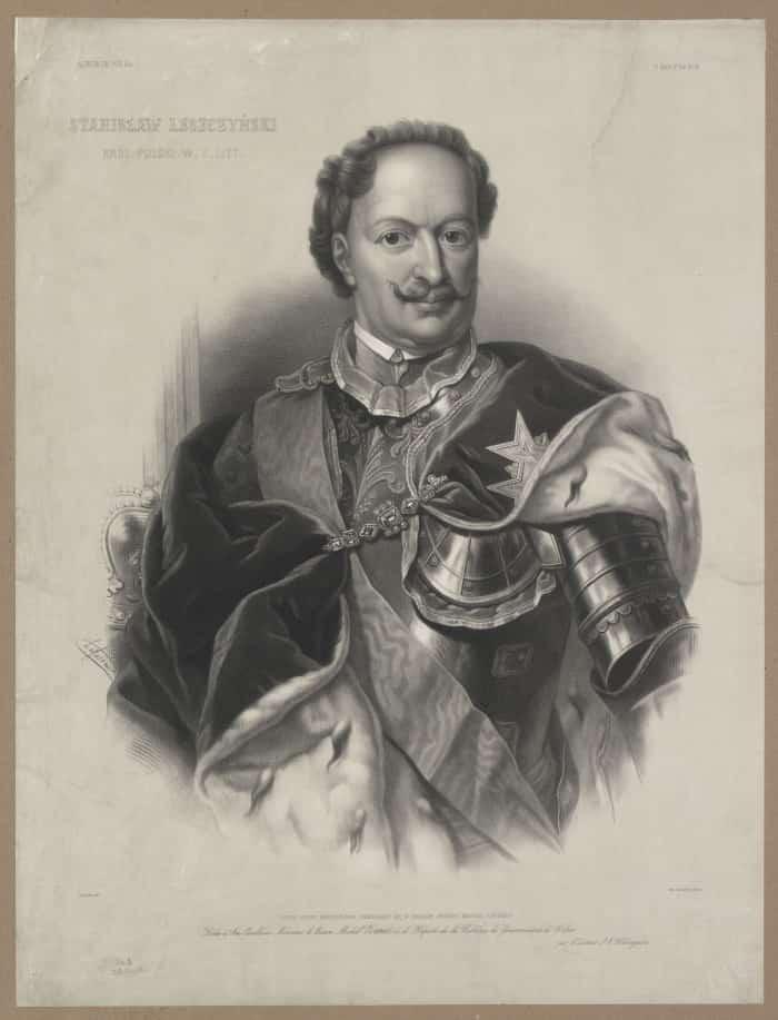 Stanisław Leszczyński – król Polski i wielki książę litewski (1733). Ryt. Adolphe Lafosse. Ze zbiorów Polona