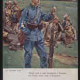 """Pocztówka obrazu """"Wnuk tych spod Grochowa i Stoczka"""" Wojciecha Kossaka (1908-1922). Źródło: Polona"""
