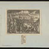 Wojna północna: zwyciężone oddziały wojsk rosyjskich składają miecze. Miedzioryt (przed 1800). Ze zbiorów Polona